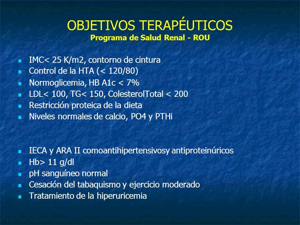 OBJETIVOS TERAPÉUTICOS Programa de Salud Renal - ROU IMC< 25 K/m2, contorno de cintura Control de la HTA (< 120/80) Normoglicemia, HB A1c < 7% LDL< 100, TG< 150, ColesterolTotal < 200 Restricción proteica de la dieta Niveles normales de calcio, PO4 y PTHi IECA y ARA II comoantihipertensivosy antiproteinúricos Hb> 11 g/dl pH sanguíneo normal Cesación del tabaquismo y ejercicio moderado Tratamiento de la hiperuricemia