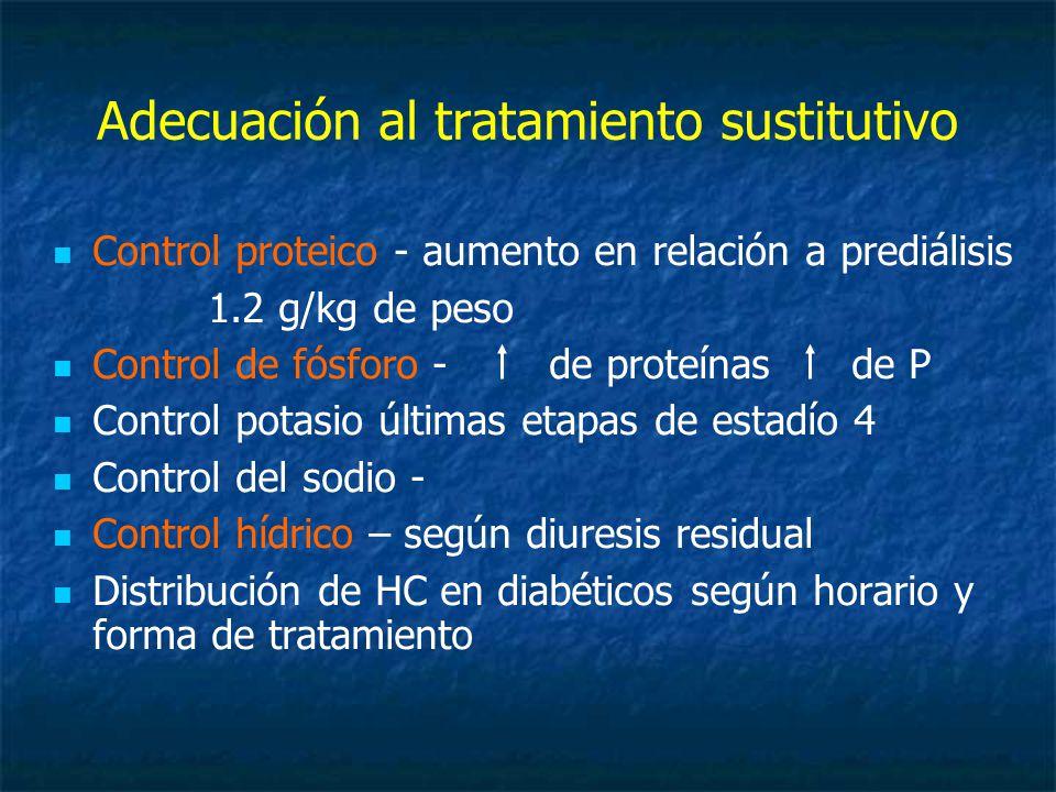 Adecuación al tratamiento sustitutivo Control proteico - aumento en relación a prediálisis 1.2 g/kg de peso Control de fósforo - de proteínas de P Control potasio últimas etapas de estadío 4 Control del sodio - Control hídrico – según diuresis residual Distribución de HC en diabéticos según horario y forma de tratamiento