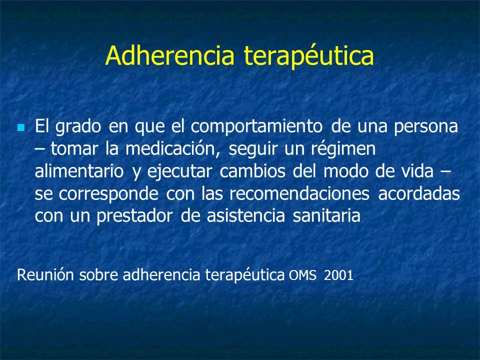 Adherencia terapéutica El grado en que el comportamiento de una persona – tomar la medicación, seguir un régimen alimentario y ejecutar cambios del modo de vida – se corresponde con las recomendaciones acordadas con un prestador de asistencia sanitaria Reunión sobre adherencia terapéutica OMS 2001