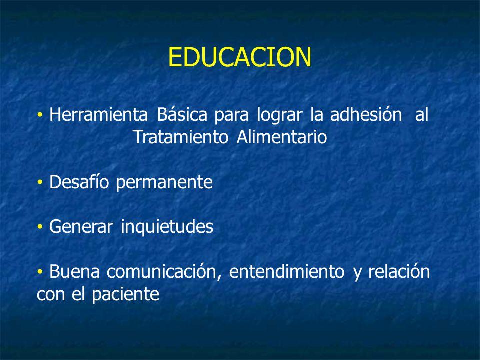 EDUCACION Herramienta Básica para lograr la adhesión al Tratamiento Alimentario Desafío permanente Generar inquietudes Buena comunicación, entendimiento y relación con el paciente