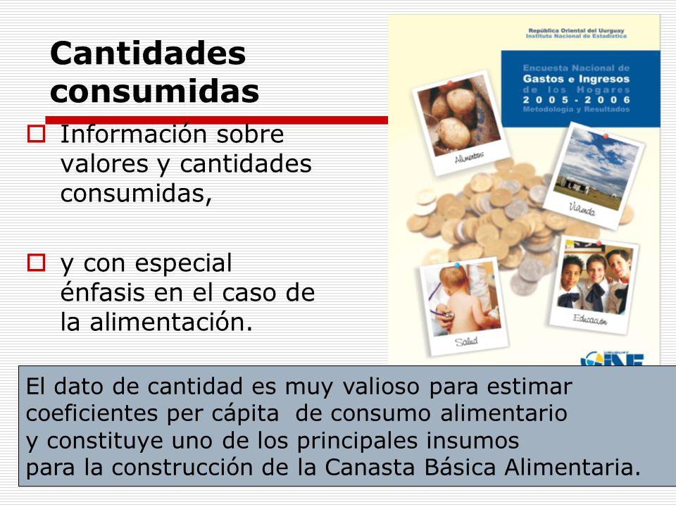 Cantidades consumidas Información sobre valores y cantidades consumidas, y con especial énfasis en el caso de la alimentación. El dato de cantidad es