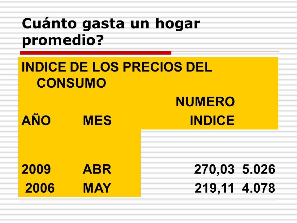Cuánto gasta un hogar promedio? INDICE DE LOS PRECIOS DEL CONSUMO NUMERO AÑOMESINDICE 2009ABR270,035.026 2006MAY219,114.078