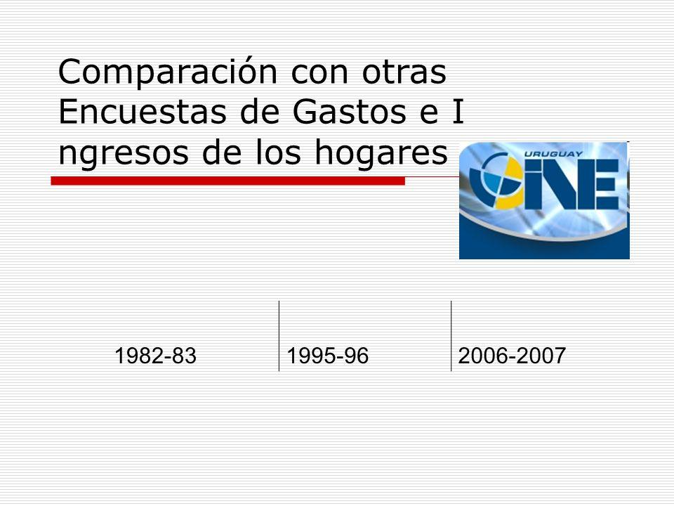 Comparación con otras Encuestas de Gastos e I ngresos de los hogares 1982-831995-962006-2007