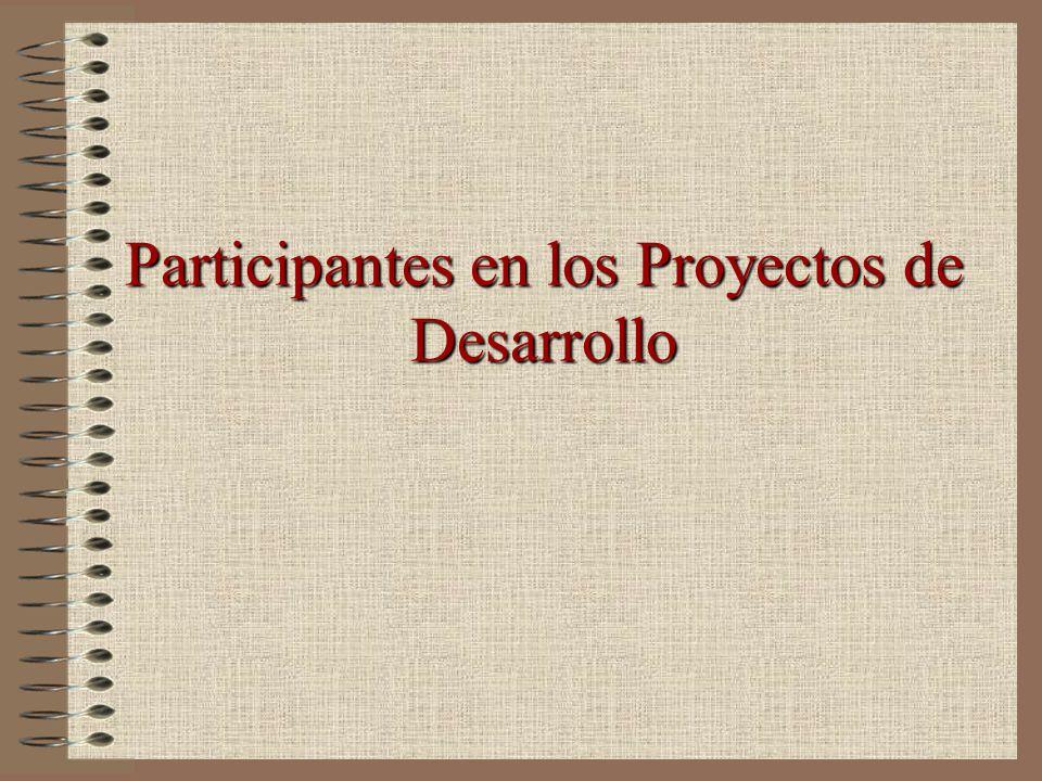 Participantes en los Proyectos de Desarrollo