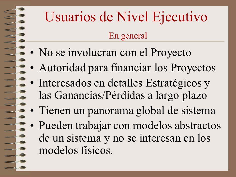 Usuarios de Nivel Ejecutivo En general No se involucran con el Proyecto Autoridad para financiar los Proyectos Interesados en detalles Estratégicos y