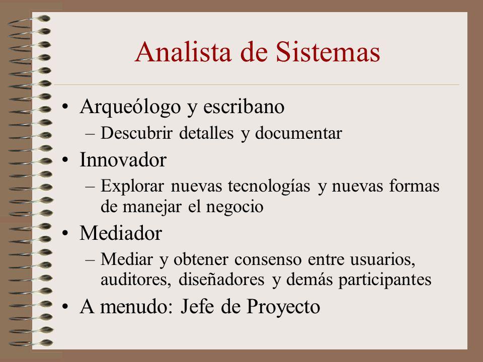 Analista de Sistemas Arqueólogo y escribano –Descubrir detalles y documentar Innovador –Explorar nuevas tecnologías y nuevas formas de manejar el nego