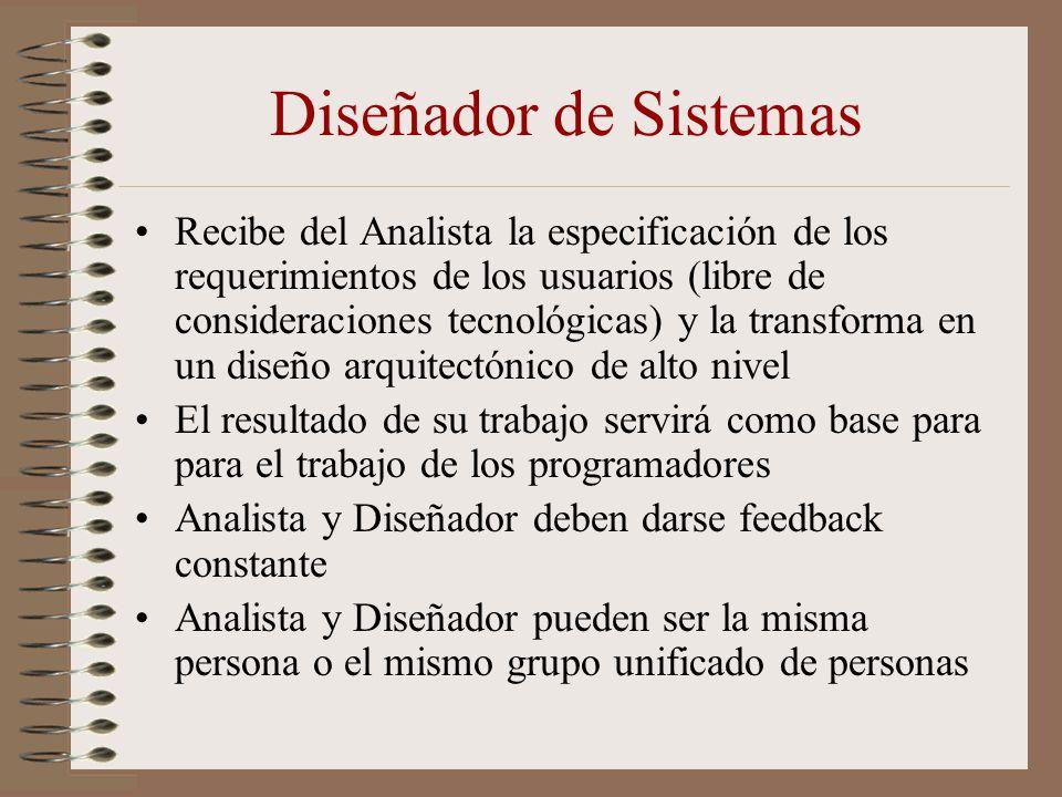 Diseñador de Sistemas Recibe del Analista la especificación de los requerimientos de los usuarios (libre de consideraciones tecnológicas) y la transfo