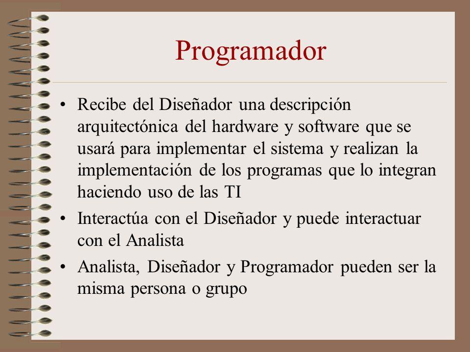 Programador Recibe del Diseñador una descripción arquitectónica del hardware y software que se usará para implementar el sistema y realizan la impleme