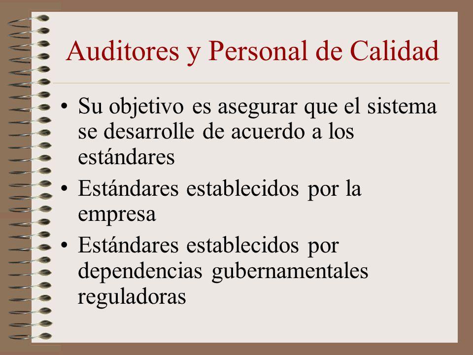 Auditores y Personal de Calidad Su objetivo es asegurar que el sistema se desarrolle de acuerdo a los estándares Estándares establecidos por la empres