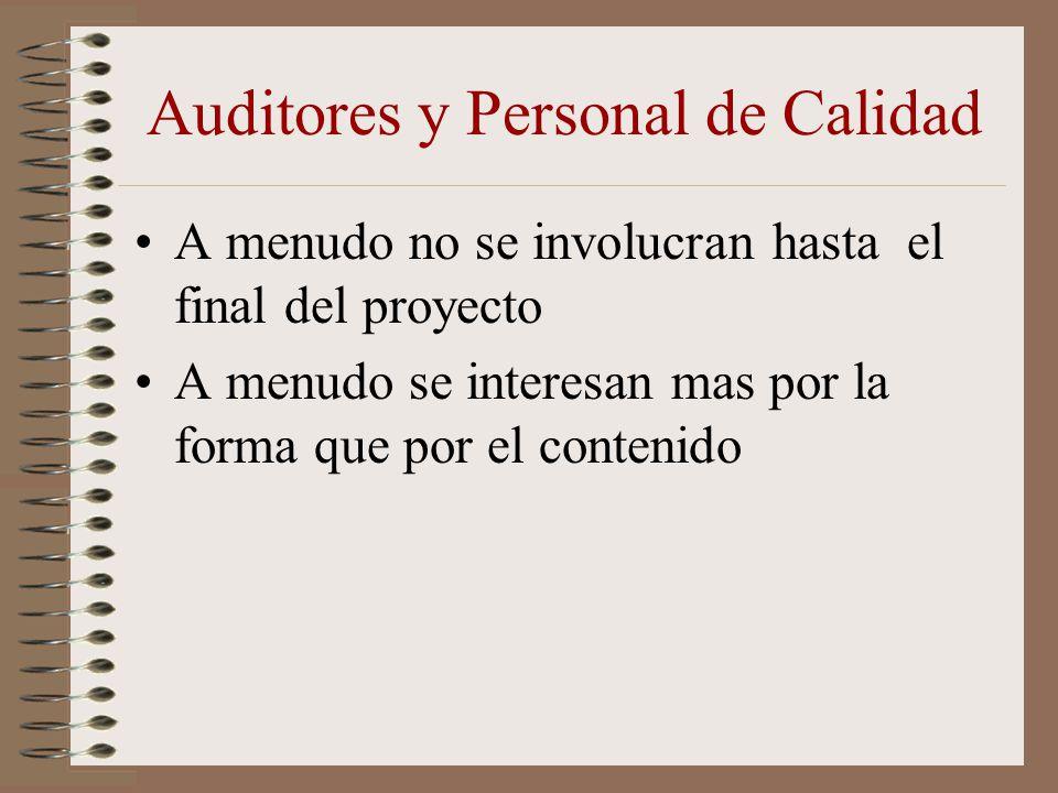 Auditores y Personal de Calidad A menudo no se involucran hasta el final del proyecto A menudo se interesan mas por la forma que por el contenido