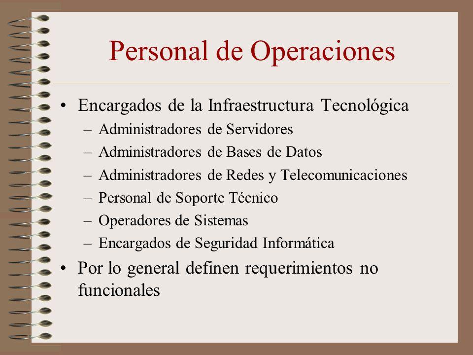 Personal de Operaciones Encargados de la Infraestructura Tecnológica –Administradores de Servidores –Administradores de Bases de Datos –Administradore