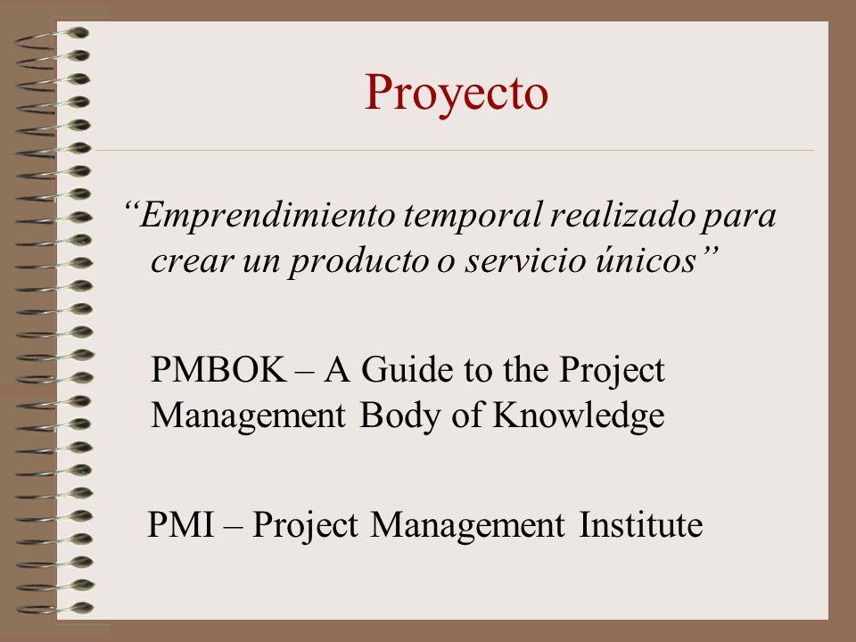 Proyecto Emprendimiento temporal realizado para crear un producto o servicio únicos PMBOK – A Guide to the Project Management Body of Knowledge PMI –