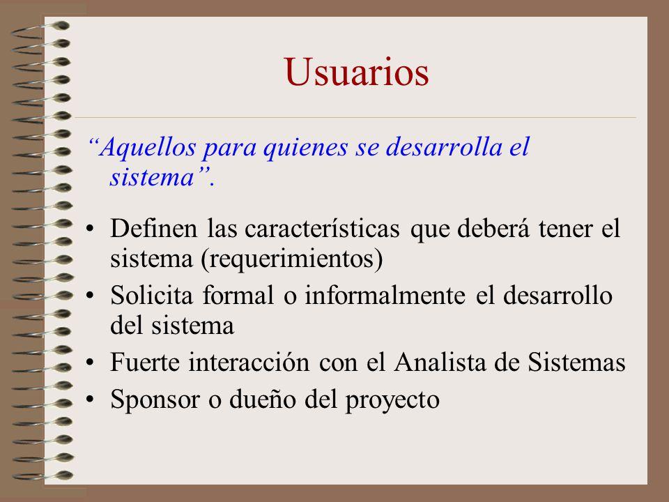 Usuarios Aquellos para quienes se desarrolla el sistema. Definen las características que deberá tener el sistema (requerimientos) Solicita formal o in