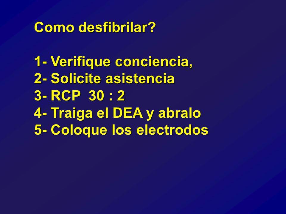 1- Verifique conciencia, 2- Solicite asistencia 3- RCP 30 : 2 4- Traiga el DEA y abralo 5- Coloque los electrodos