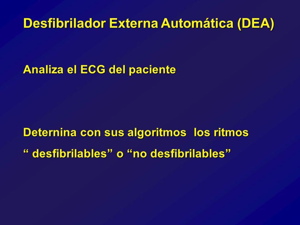 Desfibrilador Externa Automática (DEA) Analiza el ECG del paciente Deternina con sus algoritmos los ritmos desfibrilables o no desfibrilables desfibrilables o no desfibrilables