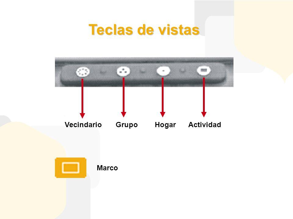 Teclas de vistas VecindarioGrupoHogarActividad Marco
