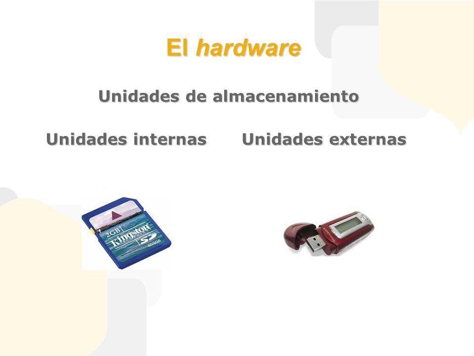 El hardware Unidades de almacenamiento Unidades internas Unidades externas