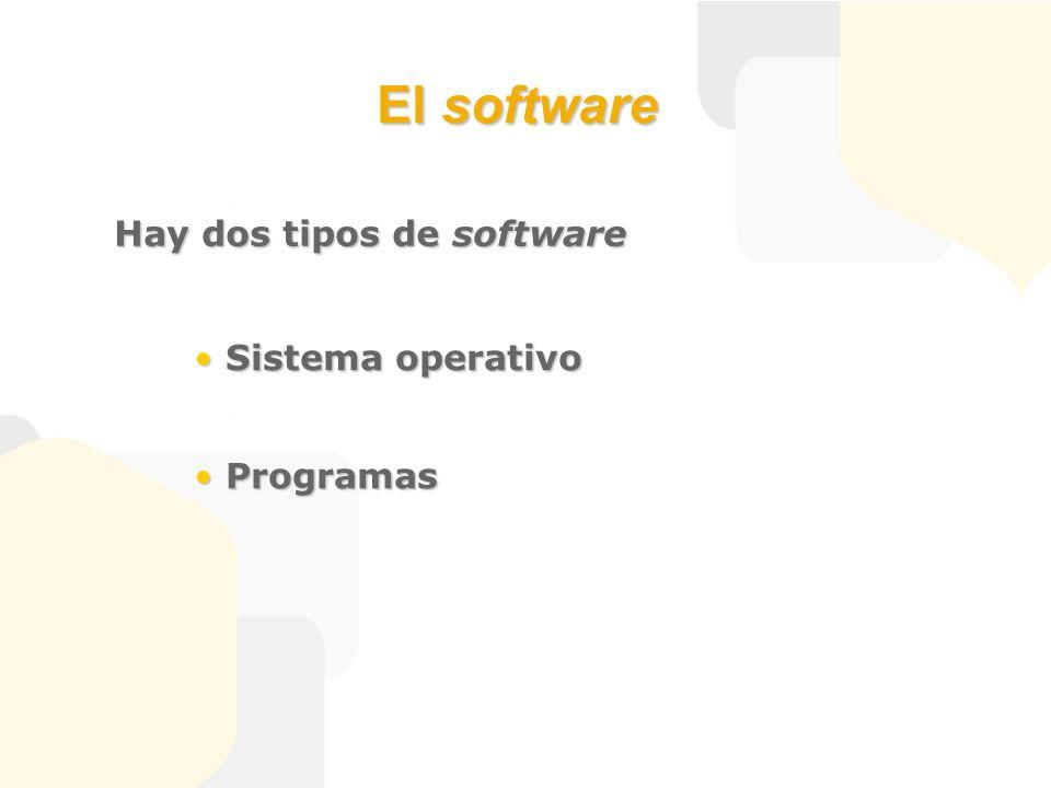 El software Hay dos tipos de software Sistema operativo Sistema operativo Programas Programas