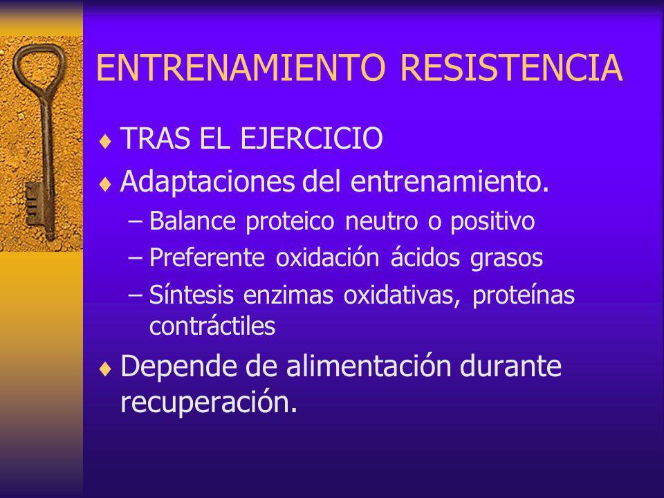 ENTRENAMIENTO RESISTENCIA TRAS EL EJERCICIO Adaptaciones del entrenamiento.