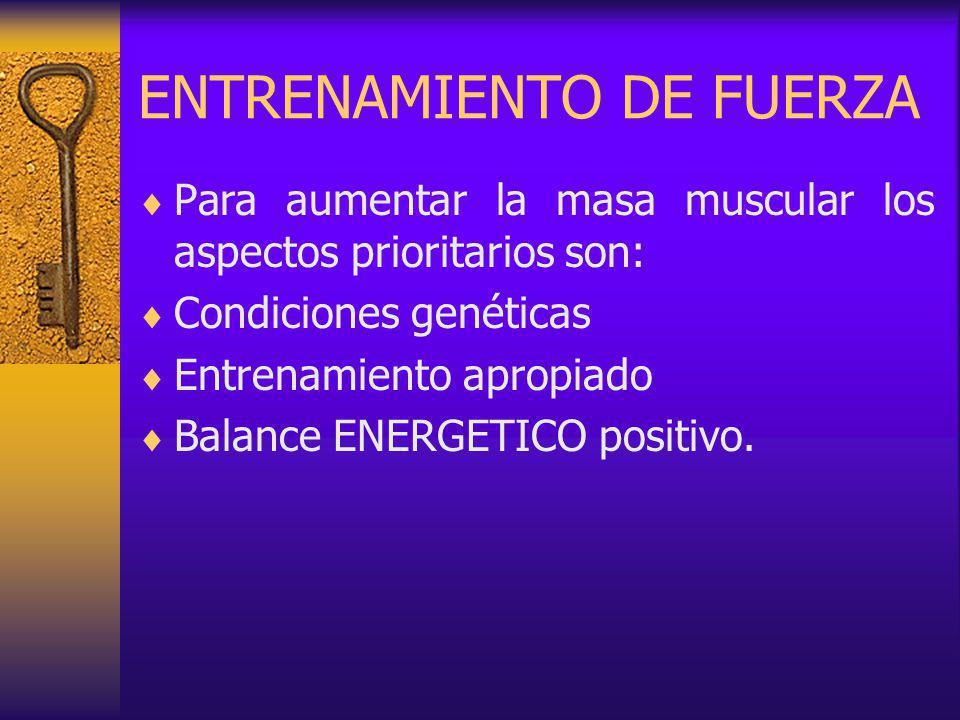 ENTRENAMIENTO DE FUERZA Para aumentar la masa muscular los aspectos prioritarios son: Condiciones genéticas Entrenamiento apropiado Balance ENERGETICO positivo.