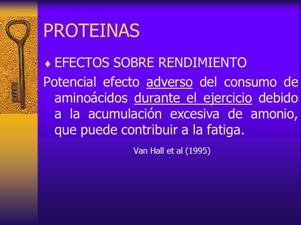 PROTEINAS EFECTOS SOBRE RENDIMIENTO Potencial efecto adverso del consumo de aminoácidos durante el ejercicio debido a la acumulación excesiva de amonio, que puede contribuir a la fatiga.