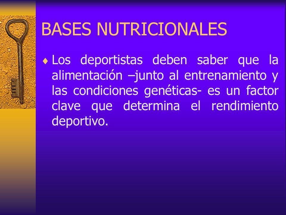 BASES NUTRICIONALES Los deportistas deben saber que la alimentación –junto al entrenamiento y las condiciones genéticas- es un factor clave que determina el rendimiento deportivo.