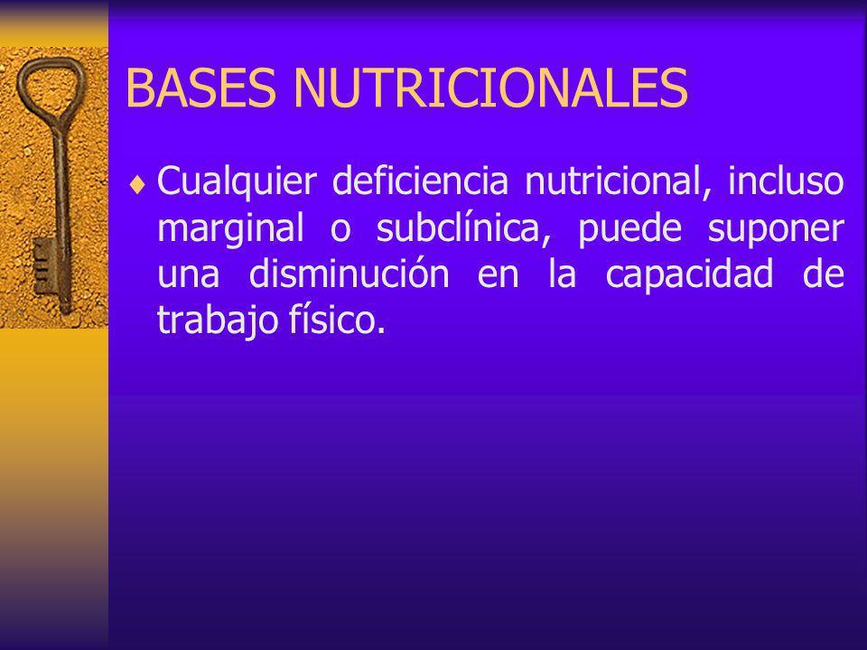 BASES NUTRICIONALES Cualquier deficiencia nutricional, incluso marginal o subclínica, puede suponer una disminución en la capacidad de trabajo físico.