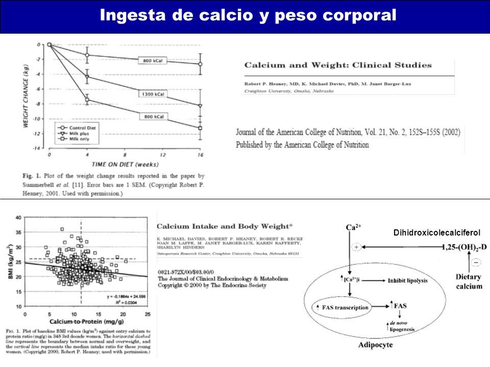 Ingesta de calcio y peso corporal Dihidroxicolecalciferol