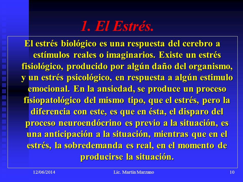 12/06/2014Lic. Martín Marzano10 1. El Estrés. El estrés biológico es una respuesta del cerebro a estímulos reales o imaginarios. Existe un estrés fisi