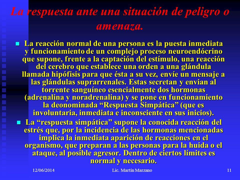 12/06/2014Lic. Martín Marzano11 La respuesta ante una situación de peligro o amenaza. La reacción normal de una persona es la puesta inmediata y funci