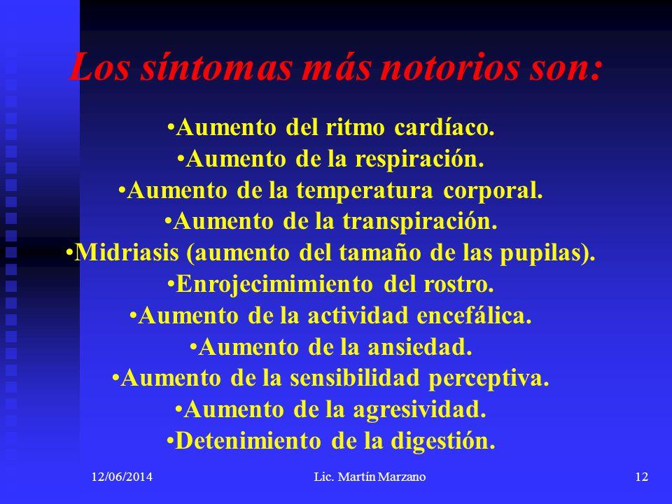 12/06/2014Lic. Martín Marzano12 Los síntomas más notorios son: Aumento del ritmo cardíaco. Aumento de la respiración. Aumento de la temperatura corpor