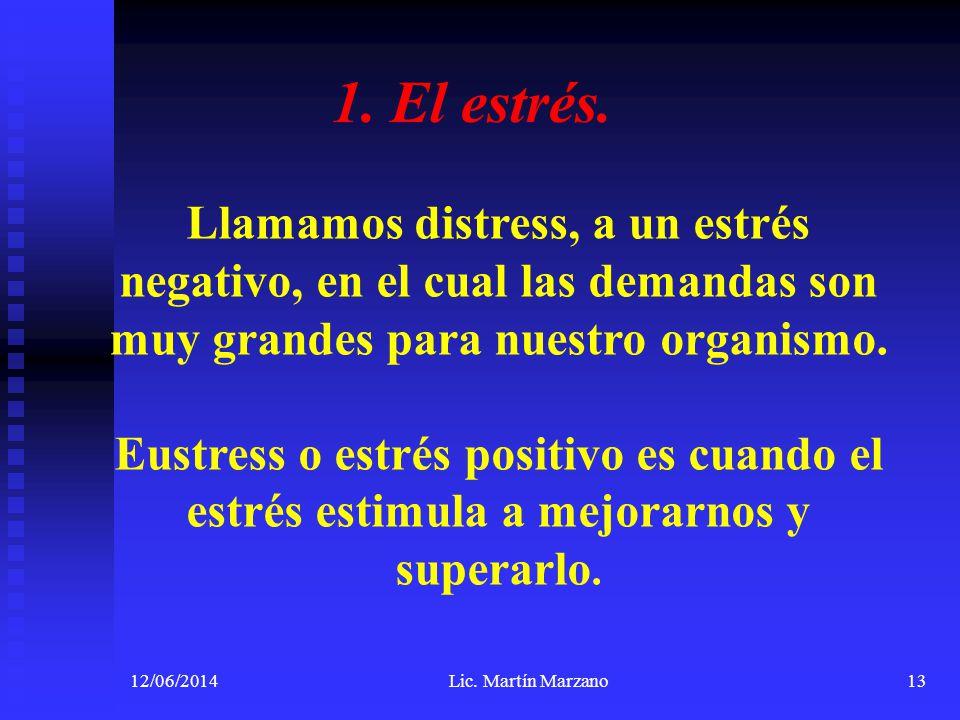 12/06/2014Lic. Martín Marzano13 1. El estrés. Llamamos distress, a un estrés negativo, en el cual las demandas son muy grandes para nuestro organismo.