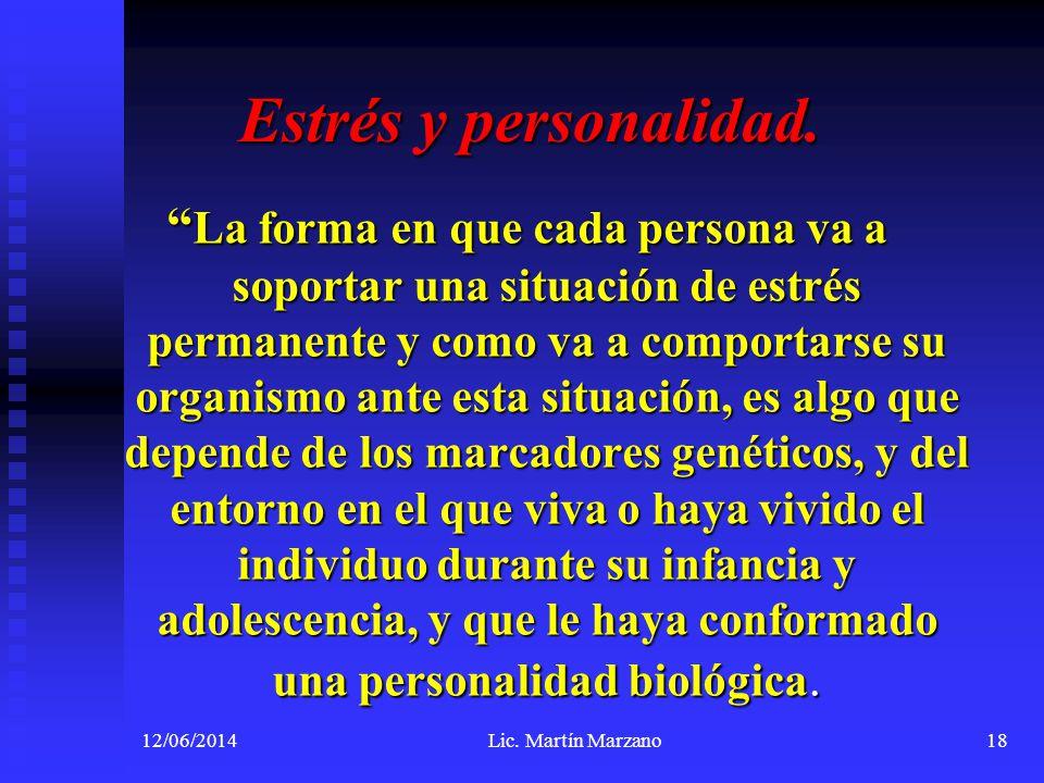 12/06/2014Lic. Martín Marzano18 La forma en que cada persona va a soportar una situación de estrés permanente y como va a comportarse su organismo ant