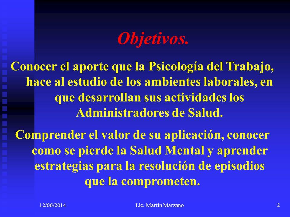 12/06/2014Lic. Martín Marzano2 Objetivos. Conocer el aporte que la Psicología del Trabajo, hace al estudio de los ambientes laborales, en que desarrol