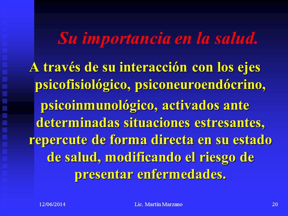 Su importancia en la salud. A través de su interacción con los ejes psicofisiológico, psiconeuroendócrino, psicoinmunológico, activados ante determina
