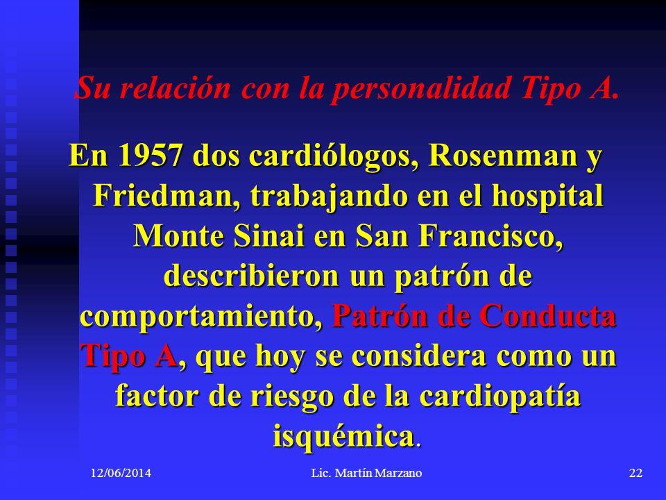 Su relación con la personalidad Tipo A. En 1957 dos cardiólogos, Rosenman y Friedman, trabajando en el hospital Monte Sinai en San Francisco, describi