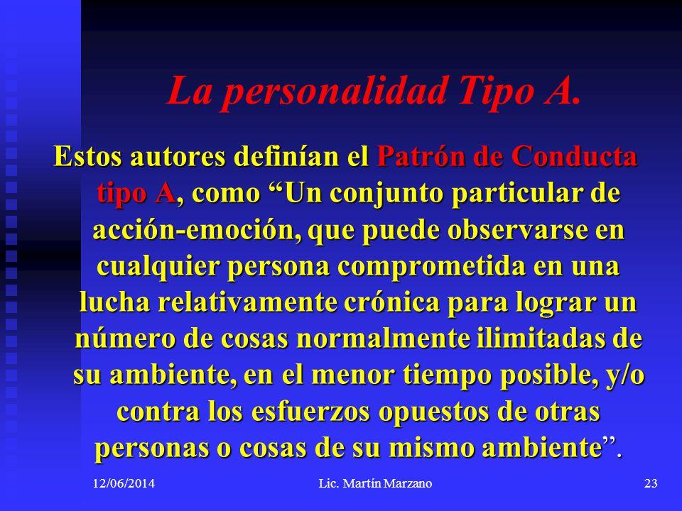 La personalidad Tipo A. Estos autores definían el Patrón de Conducta tipo A, como Un conjunto particular de acción-emoción, que puede observarse en cu