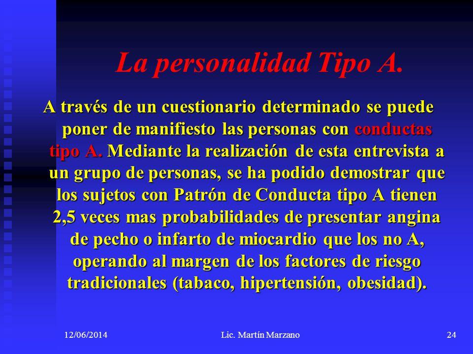 La personalidad Tipo A. A través de un cuestionario determinado se puede poner de manifiesto las personas con conductas tipo A. Mediante la realizació