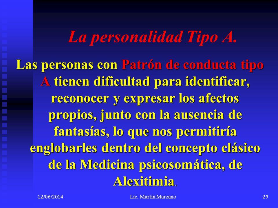 La personalidad Tipo A. Las personas con Patrón de conducta tipo A tienen dificultad para identificar, reconocer y expresar los afectos propios, junto