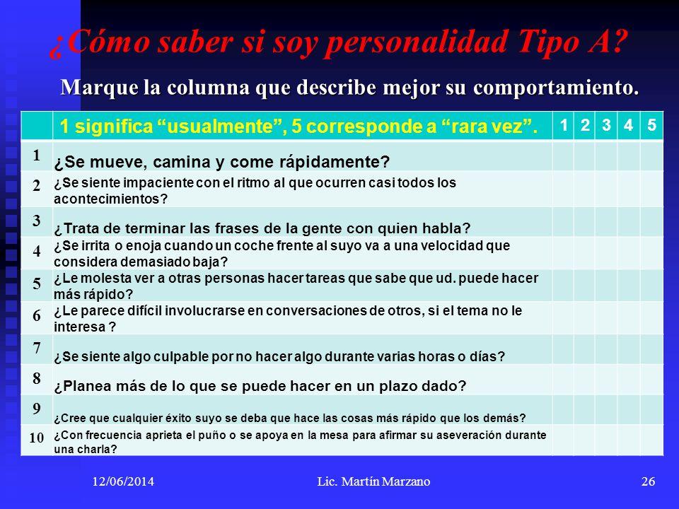 ¿Cómo saber si soy personalidad Tipo A? Marque la columna que describe mejor su comportamiento. 12/06/2014Lic. Martín Marzano26 1 significa usualmente