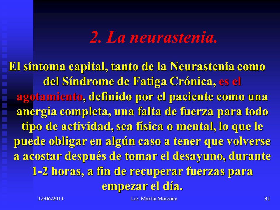2. La neurastenia. El síntoma capital, tanto de la Neurastenia como del Síndrome de Fatiga Crónica, es el agotamiento, definido por el paciente como u