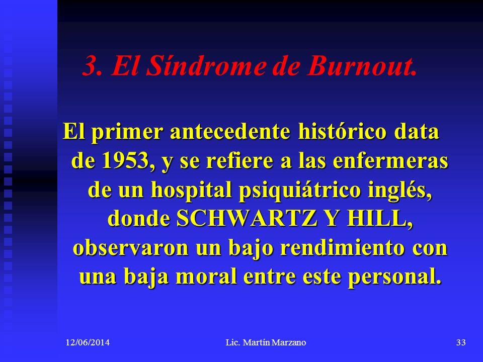 3. El Síndrome de Burnout. El primer antecedente histórico data de 1953, y se refiere a las enfermeras de un hospital psiquiátrico inglés, donde SCHWA
