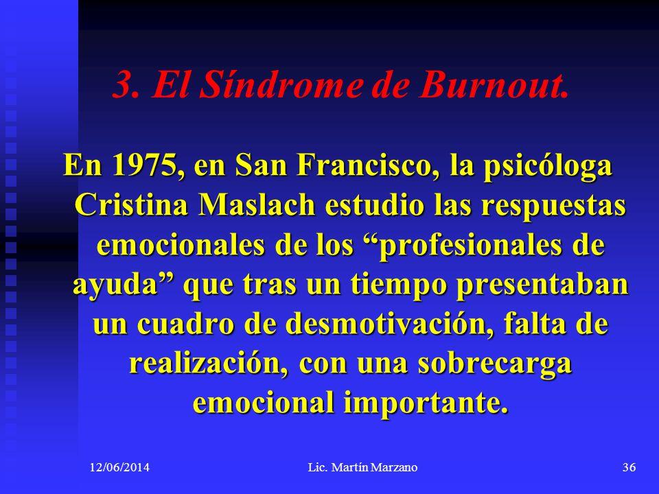 3. El Síndrome de Burnout. En 1975, en San Francisco, la psicóloga Cristina Maslach estudio las respuestas emocionales de los profesionales de ayuda q