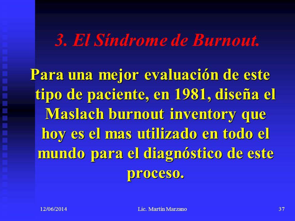 3. El Síndrome de Burnout. Para una mejor evaluación de este tipo de paciente, en 1981, diseña el Maslach burnout inventory que hoy es el mas utilizad