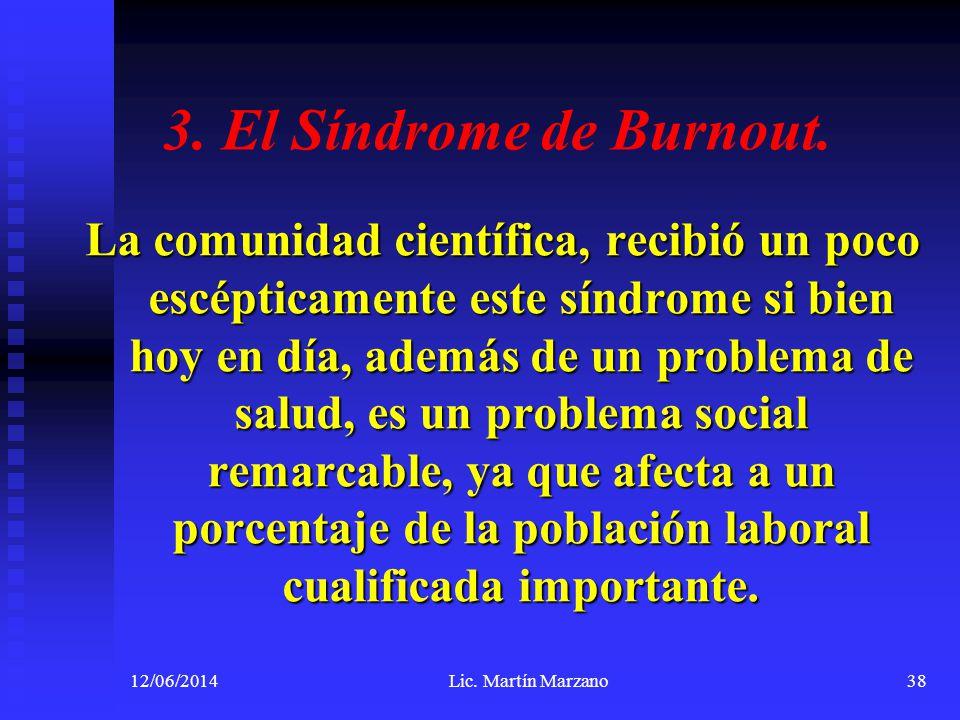3. El Síndrome de Burnout. La comunidad científica, recibió un poco escépticamente este síndrome si bien hoy en día, además de un problema de salud, e