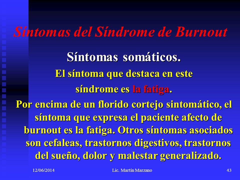 Síntomas del Síndrome de Burnout Síntomas somáticos. El síntoma que destaca en este síndrome es la fatiga. Por encima de un florido cortejo sintomátic