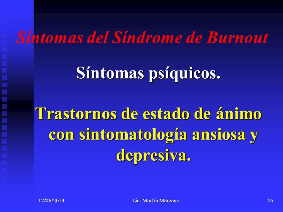 Síntomas del Síndrome de Burnout Síntomas psíquicos. Trastornos de estado de ánimo con sintomatología ansiosa y depresiva. 12/06/2014Lic. Martín Marza