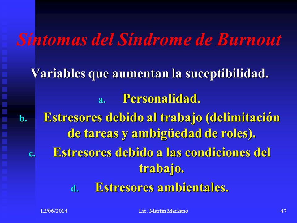 Síntomas del Síndrome de Burnout Variables que aumentan la suceptibilidad. a. Personalidad. b. Estresores debido al trabajo (delimitación de tareas y