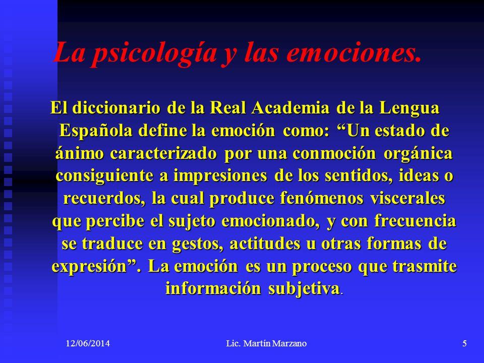 12/06/2014Lic. Martín Marzano5 La psicología y las emociones. El diccionario de la Real Academia de la Lengua Española define la emoción como: Un esta