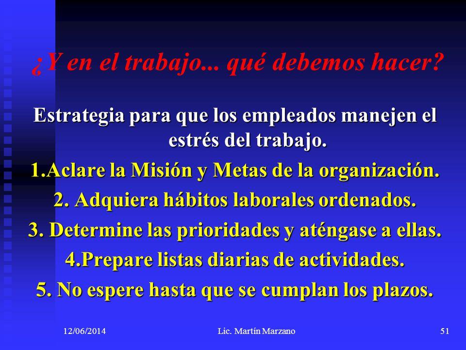 ¿Y en el trabajo... qué debemos hacer? Estrategia para que los empleados manejen el estrés del trabajo. 1.Aclare la Misión y Metas de la organización.